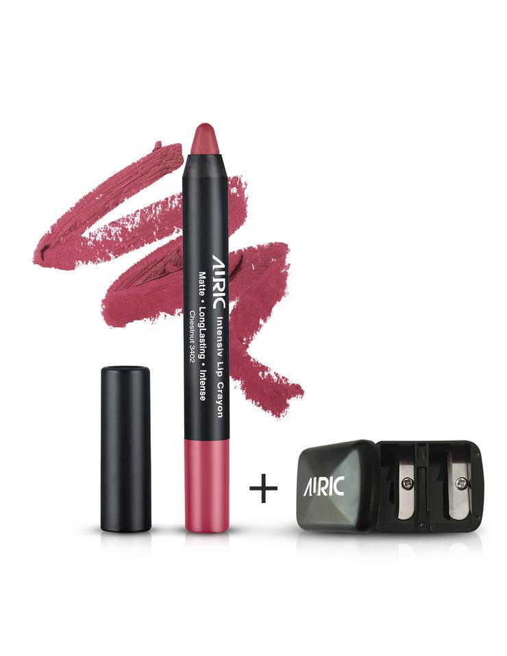 Auric Lipstick Intensiv Lip Crayon Chestnut -3402, 2.8 gm + Free Sharpener